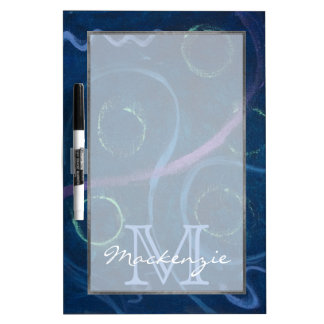 Bleu mignon de griffonnage de craie de monogramme tableau effaçable à sec