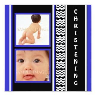 Bleu moderne de bébé de baptême carton d'invitation  13,33 cm
