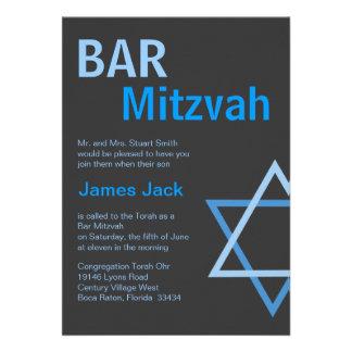 Bleu moderne et gris de Mitzvah Invitiation- de ba Invitations Personnalisées