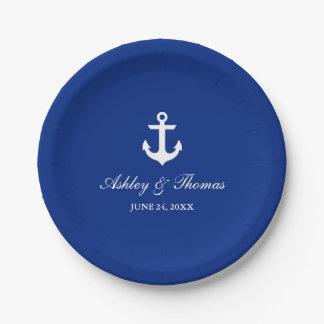 """Bleu nautique 7"""" d'ancre de mariage assiettes en papier"""