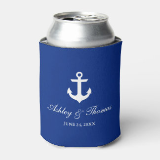 Bleu nautique d'ancre de mariage rafraichisseur de cannettes