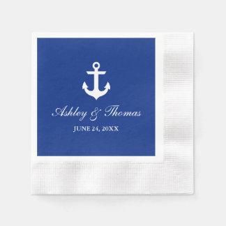 Bleu nautique d'ancre de mariage serviettes en papier