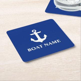 Bleu nautique d'ancre de nom de bateau dessous-de-verre carré en papier