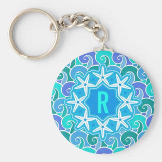 Bleu nautique de monogramme d'étoiles de mer de porte-clé rond