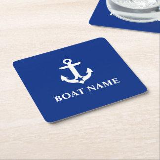 Bleu nautique d'étoile d'ancre de nom de bateau dessous-de-verre carré en papier
