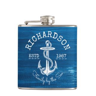 Bleu nautique vintage d'ancre de monogramme peint flasques
