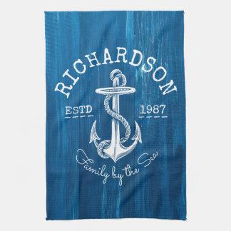 Bleu nautique vintage d'ancre de monogramme peint serviettes pour les mains