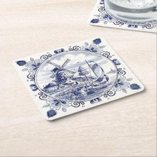 Bleu néerlandais vintage mignon de Delft de Dessous-de-verre Carré En Papier