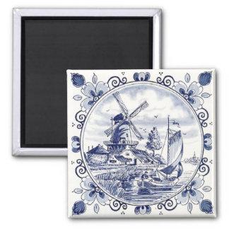 Bleu néerlandais vintage mignon de Delft de Magnet Carré