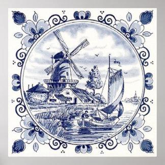 Bleu néerlandais vintage mignon de Delft de Poster