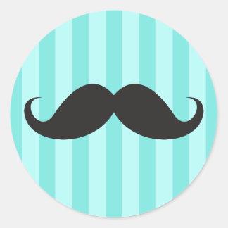 Bleu noir drôle d'aqua de moustache de moustache autocollant rond