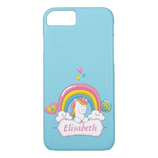 Bleu nommé fait sur commande de licorne magique à coque iPhone 7