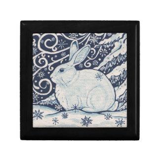 Bleu original et blanc de lapin de Noël d'hiver Boîte À Souvenirs