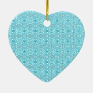 bleu ornement cœur en céramique