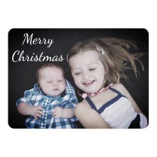 Bleu personnalisé de carte de Noël de photo de