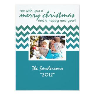 Bleu plat de carte de vacances de famille d'accent invitation personnalisée
