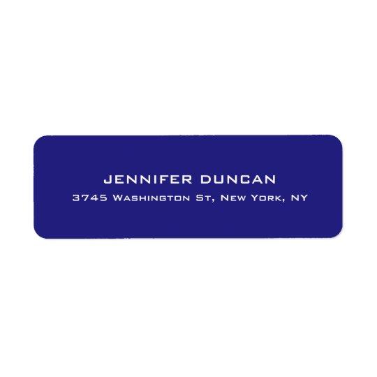 Bleu profond unique mignon élégant moderne coloré étiquette d'adresse retour