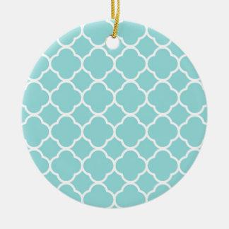 Bleu Quatrefoil de Shell de ventouse Ornement Rond En Céramique