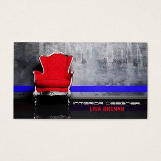 Bleu rouge de décor de salon de chaise de cartes de visite