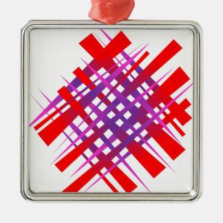 bleu rouge de gradient lumineux de chaos ornement carré argenté