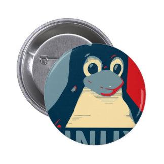 Bleu rouge de tête d'affiche de pingouin de Linux Badge