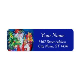 Bleu rouge du PÈRE NOËL, d'ARBRE de NOËL ET de Étiquette D'adresse Retour