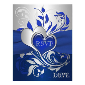 Bleu, rouleaux argentés, carte des coeurs RSVP Invitations
