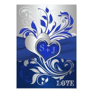 Bleu, rouleaux argentés, faire-part de mariage de