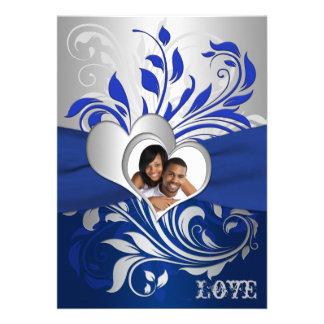 Bleu, rouleaux argentés, invitation de mariage de