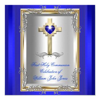 Bleu royal 2 de premier or argenté de sainte carton d'invitation  13,33 cm