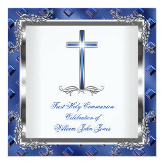 Bleu royal argenté 3 de première sainte communion invitations personnalisées