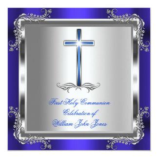 Bleu royal argenté 3b de première sainte communion carton d'invitation  13,33 cm
