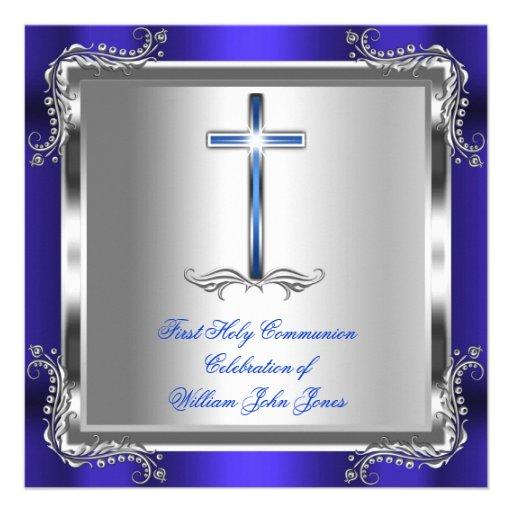 Bleu royal argenté 3b de première sainte communion faire-parts