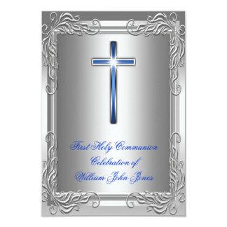 Bleu royal argenté de première sainte communion de carton d'invitation 8,89 cm x 12,70 cm