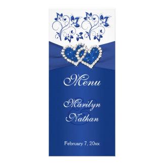 Bleu royal, carte jointive florale blanche de menu