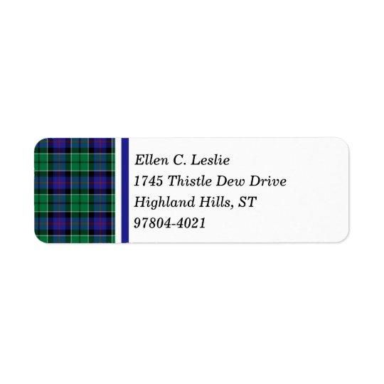 Bleu royal de clan de Leslie et tartan écossais Étiquette D'adresse Retour