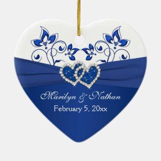 Bleu royal, ęr Noël de coeurs floraux blancs Ornement Cœur En Céramique