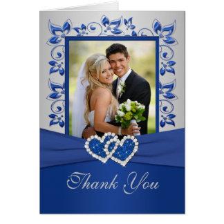 Bleu royal et carte de remerciements argenté avec
