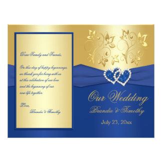 Bleu royal et coeurs jointifs par or épousant le prospectus 21,6 cm x 24,94 cm