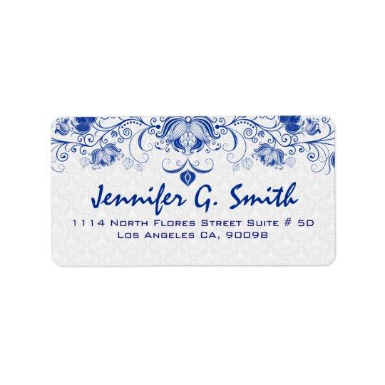 Bleu royal et dentelle florale vintage et damassés étiquette d'adresse