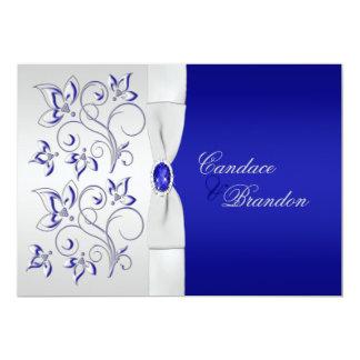 Bleu royal et faire-part de mariage floral argenté carton d'invitation  12,7 cm x 17,78 cm
