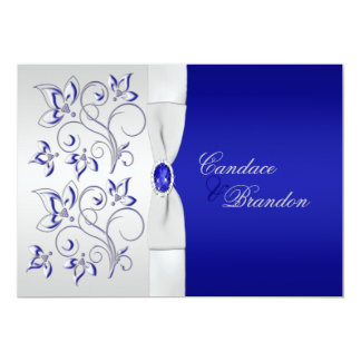Bleu royal et faire-part de mariage floral argenté