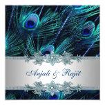 Bleu royal et mariage argenté de paon de bleu faire-parts