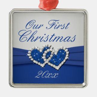 Bleu royal et ornement de coeurs jointif par
