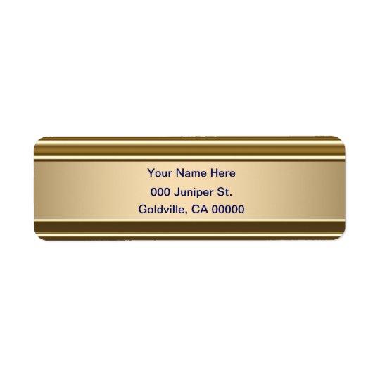Bleu royal sur le regard brillant d'or étiquettes d'adresse retour