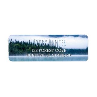 Bleu rustique de photo de nature des pins | de étiquette d'adresse retour
