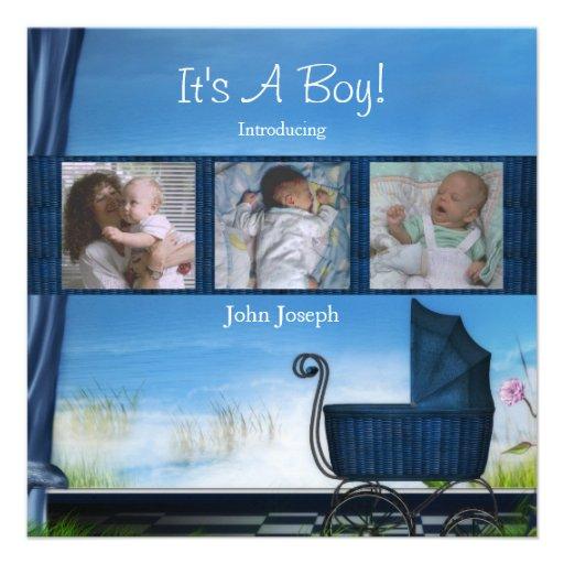 Bleu son un faire-part de naissance de garçon