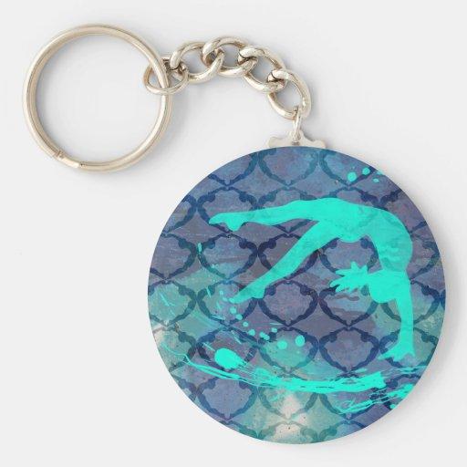 Bleu tribal de motif de gymnaste porte-clef