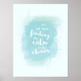 Bleu trouvant calme dans la calligraphie poster