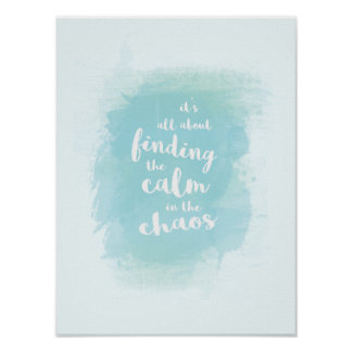 Bleu trouvant calme dans la calligraphie posters